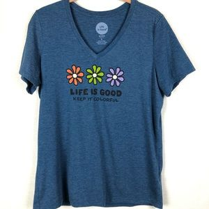"""Life is Good Blue """"Keep it Colorful"""" Tee S"""